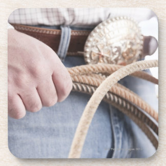 Cowboy holding a rope beverage coaster