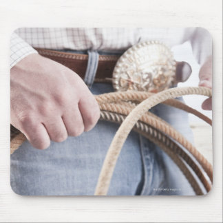 Cowboy holding a rope mouse pad