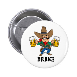 Cowboy Holding Beer Mugs Pinback Button