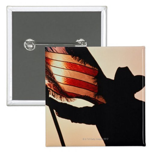 Cowboy holding Stars and Stripes, silhouette, Pinback Buttons