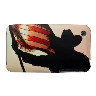 Cowboy holding Stars and Stripes, silhouette, iPhone 3 Covers