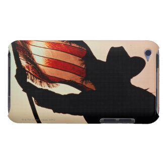 Cowboy holding Stars and Stripes, silhouette, Case-Mate iPod Touch Case