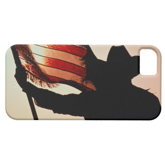 Cowboy holding Stars and Stripes, silhouette, iPhone SE/5/5s Case