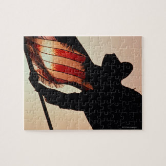 Cowboy holding Stars and Stripes, silhouette, Jigsaw Puzzle