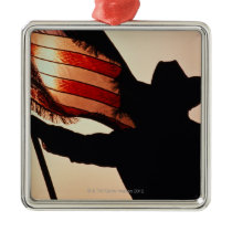 Cowboy holding Stars and Stripes, silhouette, Metal Ornament