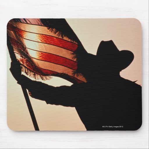 Cowboy holding Stars and Stripes, silhouette, Mousepads
