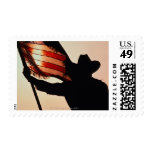 Cowboy holding Stars and Stripes, silhouette, Postage Stamps
