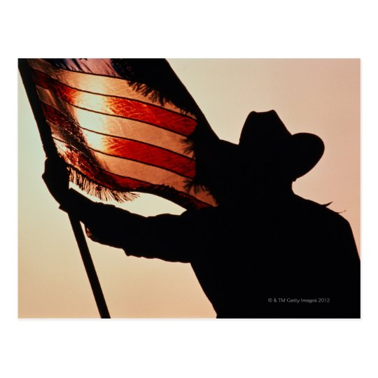 Cowboy holding Stars and Stripes, silhouette, Postcard