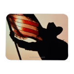 Cowboy holding Stars and Stripes, silhouette, Vinyl Magnet