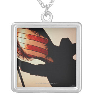 Cowboy holding Stars and Stripes, silhouette, Square Pendant Necklace