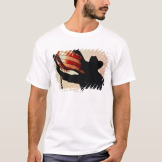 Cowboy holding Stars and Stripes, silhouette, T-Shirt