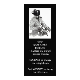 COWBOY, HORSE: ART: SERENITY PRAYER PERSONALIZED RACK CARD