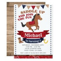 Cowboy, Horse Birthday Invitation