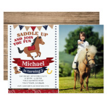 Cowboy, Horse Birthday Invitation with Photo