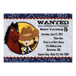 Cowboy & Horse Birthday Invitations