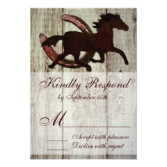 Cowboy Horse Horseshoe Country Style Wedding RSVP Custom Announcement
