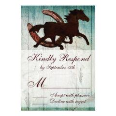 Cowboy Horse Horseshoe Country Style Wedding RSVP Invitation