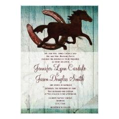 Cowboy Horse Horseshoe Country Wedding Invitations