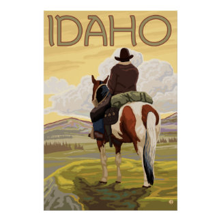 Cowboy & Horse - Idaho Poster