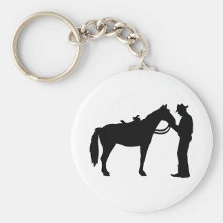Cowboy horse basic round button keychain