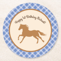 Cowboy Horse Kid's Birthday Party Theme Round Paper Coaster