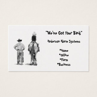 Cowboy, Horse: Pencil: BUSINESS: ALARMS Business Card