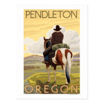 Cowboy & Horse - Pendleton, Oregon Postcard
