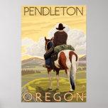 Cowboy & Horse - Pendleton, Oregon Poster