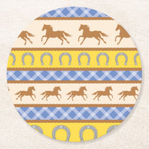Cowboy Horse Pony Cute 1st Birthday Party Theme Round Paper Coaster