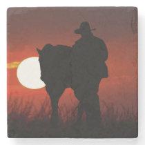 Cowboy Horse Silhouette in Sun Marble Coaster
