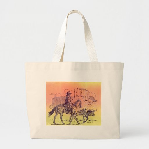 Cowboy Horse Steer Cattle Cow Western Sunset Art Tote Bags