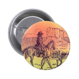Cowboy Horse Steer Cattle Cow Western Sunset Art Buttons