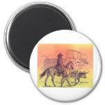 Cowboy Horse Steer Cattle Cow Western Sunset Art Magnet