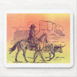 Cowboy Horse Steer Cattle Cow Western Sunset Art Mouse Pad