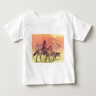 Cowboy Horse Steer Cattle Cow Western Sunset Art Shirt