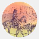 Cowboy Horse Steer Cattle Cow Western Sunset Art Round Stickers