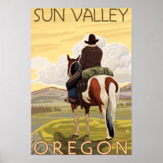 Cowboy & Horse - Sun Valley, Idaho Poster