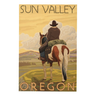 Cowboy & Horse - Sun Valley, Idaho Wood Wall Art