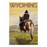 Cowboy & Horse - Wyoming Poster