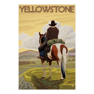 Cowboy & Horse - Yellowstone National Park Poster