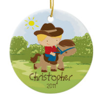 Cowboy Horseback Rider Boy Christmas Ornament