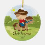 Cowboy Horseback Rider Boy Christmas Ornament