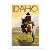 Cowboy & HorseIdahoVintage Travel Poster Postcard