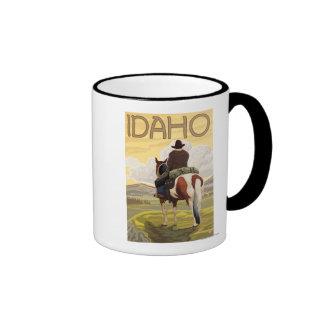 Cowboy & HorseIdahoVintage Travel Poster Ringer Mug