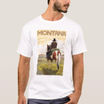 Cowboy & HorseMontanaVintage Travel Poster T-Shirt