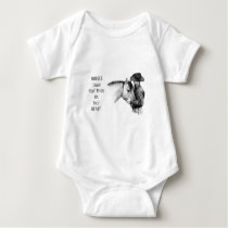 Cowboy: Horses: Hoof Prints: Pencil Drawing Baby Bodysuit