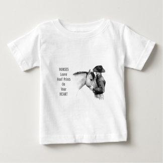 Cowboy: Horses: Hoof Prints: Pencil Drawing Baby T-Shirt