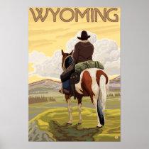 Cowboy & HorseWyomingVintage Travel Poster