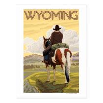 Cowboy & HorseWyomingVintage Travel Poster Postcard