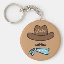 Basic Button Keychain with Iconic Cowboy Moustache design